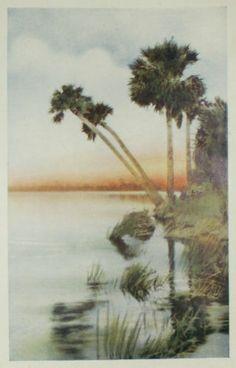 1921 Decorative Art Nouveau Florida Land of Enchantment Chromolith Illustration | eBay