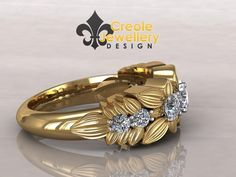 Yellow gold leaves with diamonds Carmichael Gold Leaf, Gold Ring, Diamonds, Jewelry Design, Leaves, Engagement Rings, Jewellery, Yellow, Jewelery