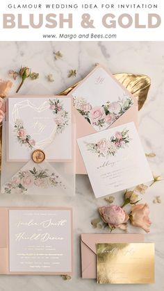 f18deec7cd blush and gold wedding invitations #blushwedding #blush  #pastelpinkweddingideas #summerweddinginvitations Esküvői Papíráru,
