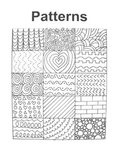 A hand-drawn handout filled with many interesting patterns to inspire art students of all ages!