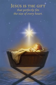 Jesus is the gift that perfectly fits the size of every heart. It's not religion, it's a relationship w/Jesus. Christmas Nativity, Christmas Time, Nativity Creche, Christmas Letters, Jesus Christus, True Meaning Of Christmas, Birth Of Jesus, Baby Jesus, Theme Noel