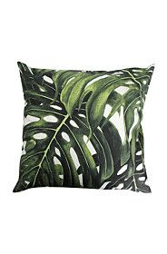PRINTED LEAVES 55X55CM SCATTER CUSHION
