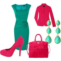 Aqua and Pink, created by stephanie-cardwell   (my easter outfit is colored blocked with these colors)
