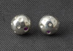 Contemporary handmade silver moon earrings, unique stud earrings, funky stud earrings, embossed earrings, geometric studs, quirky earrings