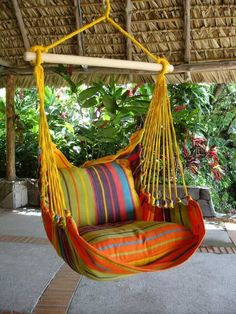Great hanging chair for in the home or garden. It's colourful design makes this hammock very attractive. XL size for better comfort. Hanging Hammock Chair, Hammock Swing, Swinging Chair, Hammocks, Hanging Chairs, Chair Swing, Porch Swing, Front Porch, Diy Swing
