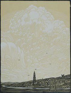 Rhenen (Holland) - WOJ NIEUWENKAMP - woodcut printed in colors,1905.
