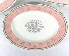 "Pimpernel Pink Wedgwood Bone China Oval Serving Platter 13.5"" W3652 Gold Trim #Wedgwood"