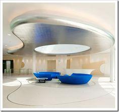 lobby by Alberto design ideas design office Futuristic Interior, Yacht Interior, Futuristic Furniture, Futuristic Design, Hotel Interiors, Office Interiors, Office Ceiling, Plafond Design, Clinic Design