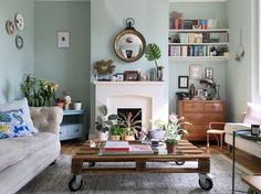 eclectic-modern-bohemian-rustic-vintage-interior-decor-farrow-ball-teresas-botanical-summer-style greenery