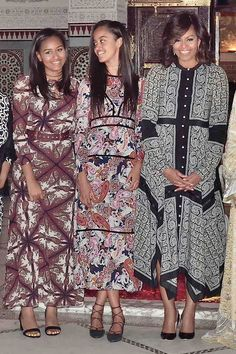 June 28, 2016  The First Lady wore a paisley handkerchief dress by Altuzarra for a dinner with her daughters and Princess Lalla Salma in Marrakech, Morocco.