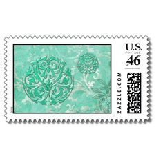 PORTO CRISTO: VINTAGE SHABBY LUXE in SEA GREEN Postage Stamps from Zazzle.com
