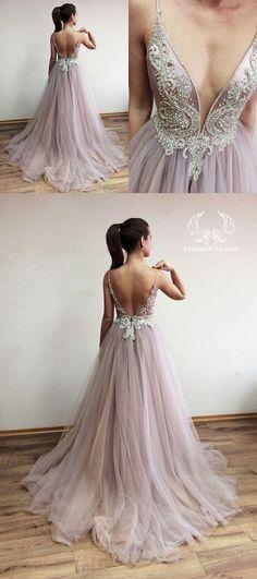 elegant prom dress, 2018 long prom dress, v neck long prom dress