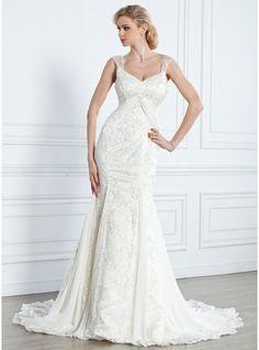Trumpet/Mermaid V-neck Court Train Chiffon Lace Wedding Dress With Beading
