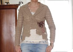 crocheted jacket with brown silk ribbon