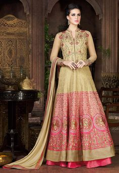 Buy Embroidered Art Silk Jacket Style Lehenga in Beige online,Item code: LQU32, Occasion: Wedding, Work: Contemporary, Resham, Stone Work, Zari, Fabric: Art Silk, Gender: Women