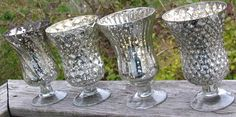 8 SILVER MERCURY GLASS Style Vases Assorted Pedestal Footed Christmas Vintage Wedding Pewter Chrome Hurricane Vase Goblets Candle Holder