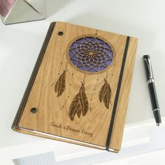 Personalised Wooden Dream Notebook by Urban Twist, the perfect gift for Explore more unique gifts in our curated marketplace. Living Hinge, Dreamcatcher Design, Wood Gift Box, Laser Cutter Projects, Teak Oil, Journal Notebook, Notebook Ideas, Notebook Covers, Journals