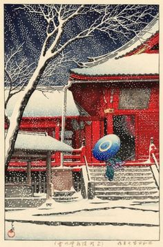 Japanese art japanese snow winter art prints posters by ArtPink Art And Illustration, Botanical Illustration, Japanese Woodcut, Art Chinois, Art Asiatique, Art Japonais, Japanese Painting, Chinese Painting, Winter Art