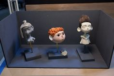 ParaNorman - Interim sculpted faces of Courtney, Neil and Norman await final touches.