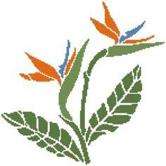 Cross Stitch Bird, Counted Cross Stitch Patterns, Cross Stitch Embroidery, Cross Stitches, Birds Of Paradise Flower, Beautiful Artwork, Charts, Pattern Design, Plant Leaves