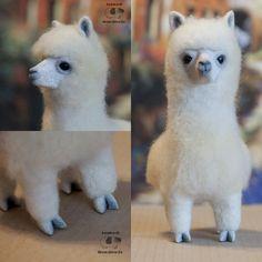 Alpaca doll, needle felted by JackadiHandmade on DeviantArt Pom Pom Animals, Felt Animals, Cute Crafts, Felt Crafts, Wet Felting, Needle Felting, Alpaca Stuffed Animal, Cute Llama, Llama Alpaca