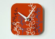 Bright Floral Wall Clock  by eightyacresart, $38.00