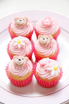 Kaloo Bear Pink Mini Cupcakes... perfect for those pink baby showers...