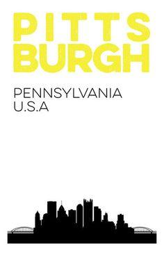 Pittsburgh Skyline Print.  Pitt Pennsylvania  City Poster. 11x17
