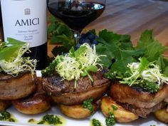 """If you need to impress, try this recipe for """"Bacon-Wrapped Tenderloin of Beef with Chimichurri and Crispy Yukon Gold Potatoes."""" Serve with Amici Cellars Morisoli Vineyard Cabernet Sauvignon and enjoy the compliments!  http://www.amicicellars.com/recipes"""