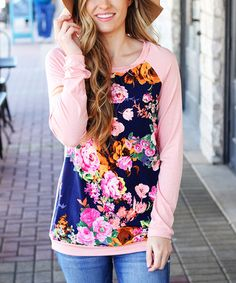 Another great find on #zulily! Navy & Pink Floral Raglan Tunic #zulilyfinds