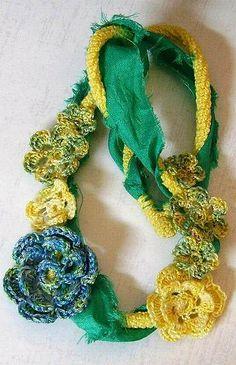 Irish Crochet Necklace Pastel Spring