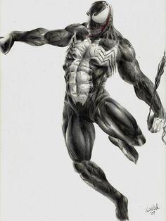 Venom In Flight Comic Art