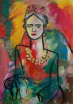 Autumn days Painting Frida Kahlo inspired abstrakt art