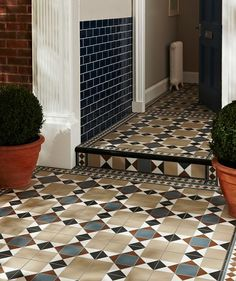 Practical, durable but on trend outdoor tiles from Topps Tiles. Porch Tile, Patio Tiles, Outdoor Tiles, Hall Tiles, Tiled Hallway, Victorian Porch, Victorian Tiles, Garden Tiles, Topps Tiles