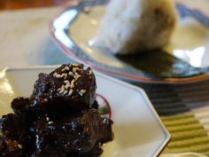 Pork tsukudani with soy sauce & ginger - theMatchaGreen Ginger Pork, Ginger And Honey, Stir Fry Rice, Rice Balls, Fried Vegetables, Soy Sauce, Recipe Using, Side Dishes, Ice Cream