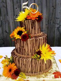 fall wedding cake with Sun Flowers