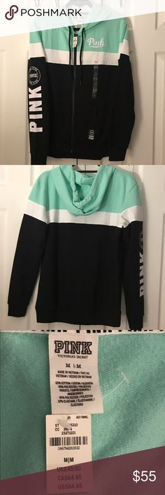 ⚡️NWT Victoria's Secret Pink hoodie,size-M⚡️ ⚡️NWT Victoria's Secret Pink Hoodie⚡️In Size-Medium and inthe Colors-mint green, white and black, this hoodie has never been worn just put up , from smoke free home. PINK Victoria's Secret Tops Sweatshirts & Hoodies