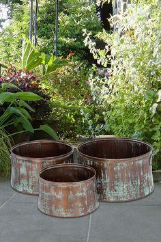 Copper Metal Planters - Set of 3 by UMA Enterprises Inc. on @HauteLook
