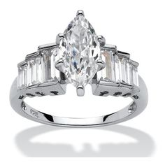 PalmBeach Jewelry 3.74 CT TW Cubic Zirconia Ring in Platinum over .925... ($70) ❤ liked on Polyvore featuring jewelry, rings, jewelry & watches, white, cz rings, white jewelry, sterling silver rings, sparkle jewelry and baguette ring