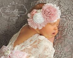 White & Light Pink Baby Romper & Headband Gorgeous newborn girl romper, made of high quality fabrics, beautiful soft lace! The vintage look of this romper is stunning! The back is cut in V shape and decorated with our fabulous handmade bow, overlaid with lace with a gorgeous