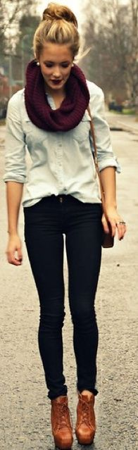How to Wear Denim with Skinny Jeans and Heels - Love The matching combo between Scarf and Lips !