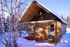 A snowy cabin makes a beautiful backdrop to a Christmas in the NWT