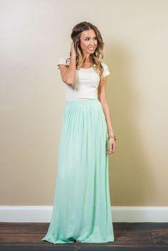 Image result for light mint green long skirts