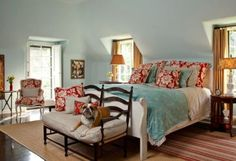 Gorgeous Yet Unexpected Color Trios for the Bedroom: Red, Aqua and Brown