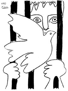 "by Leonard Eiger ""I was in prison, and…"" Holiday Greetings People of Peace. Pablo Picasso, Picasso Art, Bird Illustration, Illustrations, Animal Drawings, Art Drawings, Picasso Sketches, Cubist Movement, Miro"