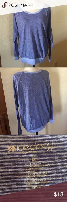 """💜Ideology Long Sleeve Striped Tee Dark blue and light blue striped long sleeves tee. Built like a sweatshirt but tshirt material. Slightly sheer. Super comfy, gorgeous color, very soft. Polyester/cotton/rayon blend. Made in Vietnam. LAYING FLAT MEASUREMENTS: chest 22"""" length 24"""" sleeve 23"""" Ideology Tops Tees - Long Sleeve"""