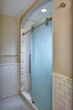 Craftsman 3/4 Bathroom - Found on Zillow Digs. I love this sliding shower door!