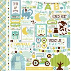 Echo Park - Bundle of Joy New Addition Collection - Boy - 12 x 12 Cardstock Stickers - Elements at Scrapbook.com