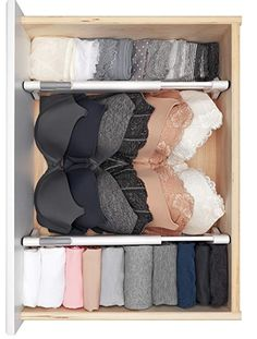 Organization bedroom - These drawers dividers help organize any drawer and are easy to install requiring no tools! Make organizing, tidying, simplifying and decluttering your bedroom fun and easy with these musthave Master Dresser Drawer Organization, Home Organisation, Organization For Clothes, Organizing Ideas, Underwear Organization, Small Closet Organization, Organize Dresser Drawers, Walk In Closet Organization Ideas, Ikea Drawer Organizer