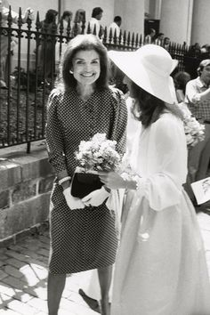 June 14, 1980.  Jackie Kennedy with her daughter Caroline during Wedding of Courtney Kennedy and Jeff Ruhe at Holy Trinity Church in Georgetown, Washington DC.